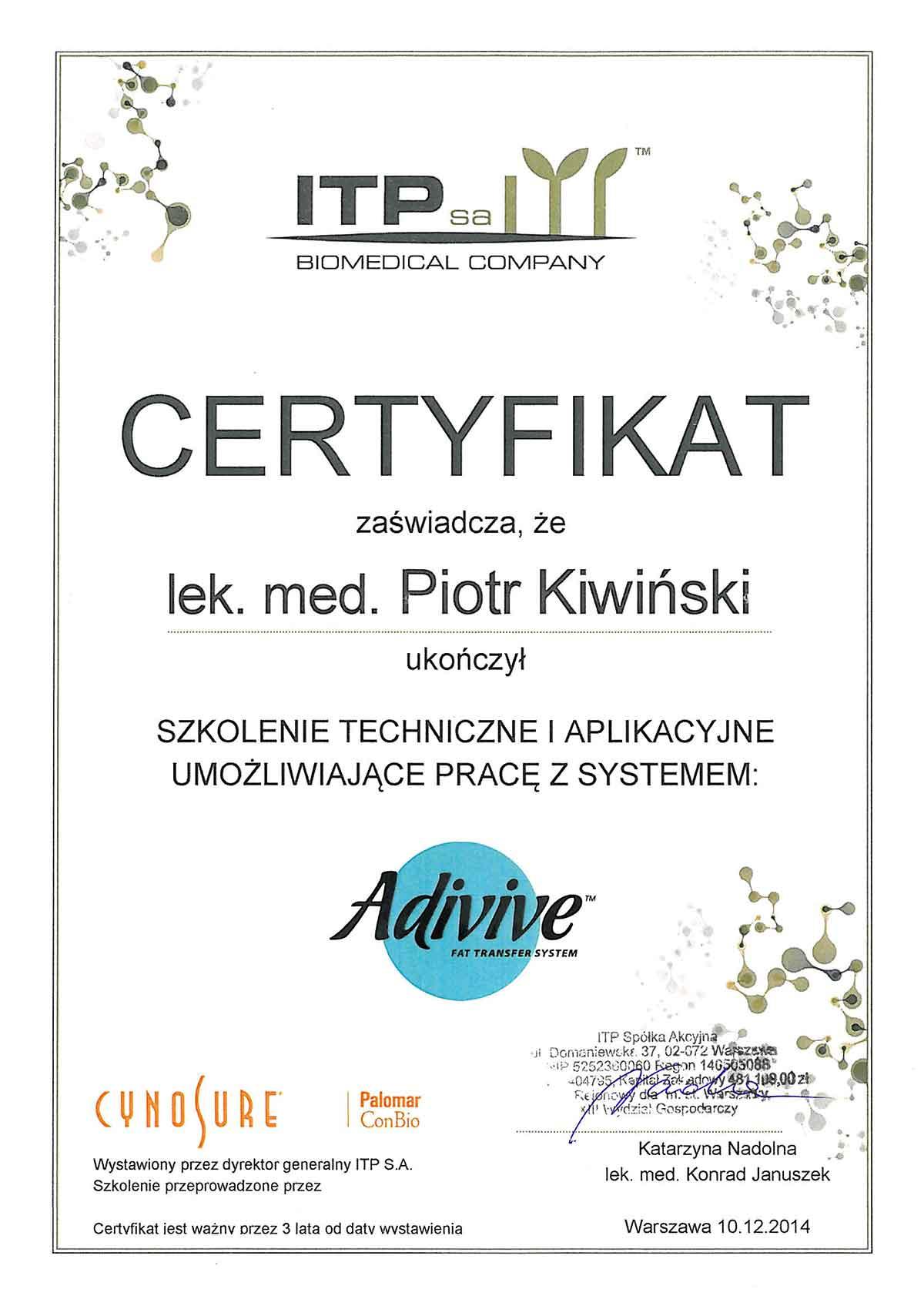 Novena Clinica - certyfikaty i dyplomy. Medycyna estetyczna, chirurgia ogólna i onkologiczna